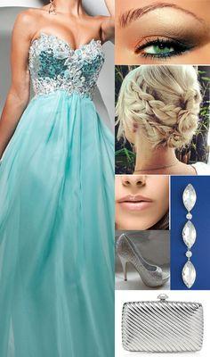 Prom 2014 Blue Prom Dress look prom hair prom make up prom jewelry