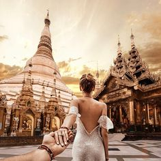 Shwedagon Pagoda, Myanmar with The oldest and the most famous pagoda in the world! It can be seen from most places of Yangon, day and night as the golden roof illuminates the city. Murad Osmann, Shwedagon Pagoda, Set Me Free, Photo Series, Mermaid Prom Dresses, Poses, Traveling By Yourself, Travel Photography, Beautiful Pictures