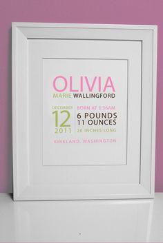 8 x 10 - Custom Birth Print - GIRL - perfect for framing