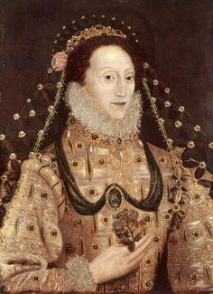 Portrait of Elizabeth I (1533-1603) c.1575-80 (oil on panel), English School, (16th century) / National Portrait Gallery, London, UK / The B...