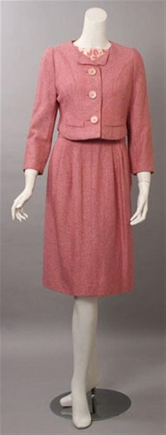 Two Mainbocher day ensembles, Including a blue and white patterned silk sharkskin day dress and sash, and a dress and jacket ens White Silk, Blue And White, Tweed Skirt, Sash, Day Dresses, 1960s, Period, Bodice, Vintage Fashion