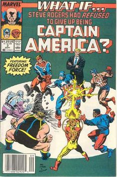 """The Marvel series """"What If?"""" originally started in the 70s and was imaginary tales narrated by the Watcher. A new series started in the 90s includes an alternate vision based on an 80s storyline where Cap was forced to hang up his shield."""
