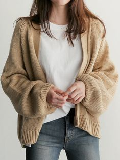 Casual Women Cardigans Solid Knitted Sweater Women Long Sleeve Autumn Winter Clothes Women Tops Pull Femme Hiver Khaki One Size Pullover Mode, Pullover Outfit, Cardigan Outfits, Cardigan Sweaters For Women, Sweater Coats, Cardigans For Women, Knit Sweaters, Loose Sweater, Knit Sweater Outfit