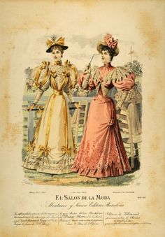 1894 Victorian Lady Women Summer Dress Hats Lithograph - Hand-Colored Lithograph