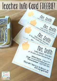Free Teacher Information Cards! Editable - Great for Back to School Night, Open House, and Meet the Teacher Night!
