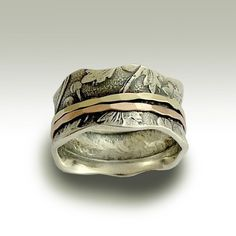 Wedding band - Sterling silver meditation band with yellow and rose gold spinners - Breathe
