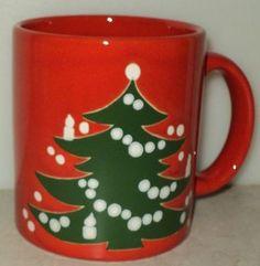 Christmas Tree Holiday Waechtersbach Germany Red Green Coffee Cup Mug