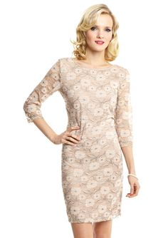 377c87fb0e3 ONYX NITE Floral Lace Dress with Three-Quarter Sleeves Floral Lace Dress