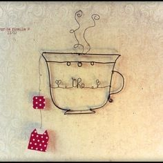 Tasse en fil de fer et sachet de thé en papier Wire Crafts, Diy And Crafts, Sculptures Sur Fil, Art Du Fil, Textile Sculpture, Chalk Paint Colors, Wire Pendant, Button Art, Wire Art