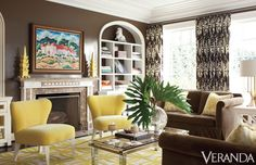 A yellow-infused palette energizes this Dallas living room. Custom sofas in Zimmer + Rohde fabric. Pillows in Sanderson fabric. Custom chairs in Elitis fabric. Curtains in Christopher Farr fabric. Rug, The Rug Company. Art, Kim Wiggins. Image originally appeared in the November/December 2011 issue of VERANDA. INTERIOR DESIGN BY JULIE HAYES   - Veranda.com