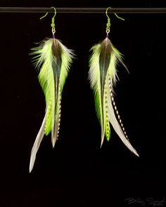 grizzly chartreuse feather earrings