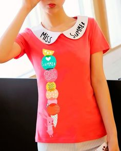 Colorful ice cream t shirts for teenage girls Peter Pan collar tops