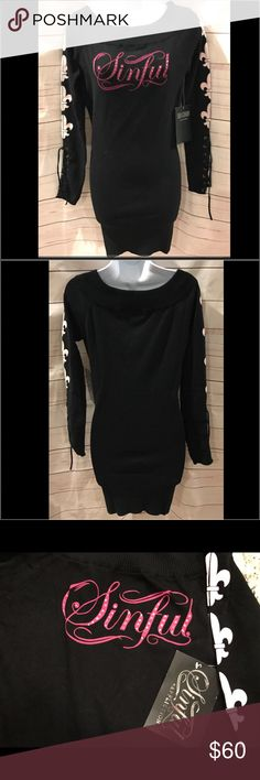 "NWT Sinful by Affliction bodycon dress NWT Sinful by Affliction bodycon dress. Sinful"" with rhinestones on front.  Lace up arms.  Fleur de lis down arms.  Cotton/spandex.  32"" long 16"" across chest.  Could be long sweater or bodycon dress. Never worn.  Excellent condition! Affliction Dresses Mini"