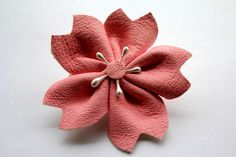 Sakura Pink Leather Cherry Blossom Brooch Pin Only One by KamiMono