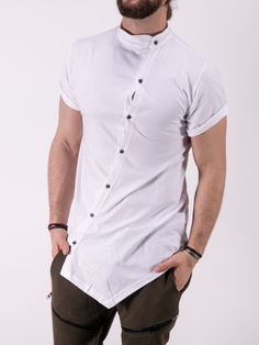 K&B Men Moved Buttons Mock Neck T-shirt - White