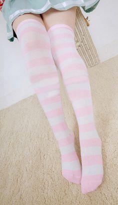 over the knee pink stripey lolita cosplay socks