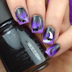 Haunting Halloween night with bats that leave us in fright! @nailsbynadia_ created these bat nails using China Glaze - Liquid Leather White On White Plur-ple Violet Vibes and Sweet Hook. by chinaglazeofficial