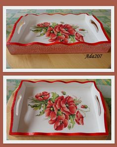 18 Decoupage art Pins you might like - WP Poczta Painted Wooden Boxes, Painted Trays, Wooden Art, Hand Painted, Decoupage Wood, Decoupage Vintage, Decoupage Chair, Ornaments Design, Wood Tray