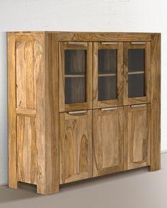 Highboard robustus 3Glastür/3Holztür Teak finish massiv Holz honigbraun Möbel Wohnzimmer Hochkommode Schränke