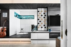 AMP Design Co. proves that size does not matter as style and function abound in this Peranakan industrial apartment for a bachelorette. Small Space Living, Small Spaces, Custom Bed Frame, Sliding Door Panels, Built In Dresser, Boundary Walls, Storage Stool, Bed Frame With Storage, Industrial Apartment