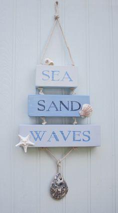 Sea Sand Waves coastal beach house sign