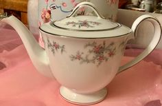 Pretty in Pink-Like New Noritake Rose and Silver Tea Pot