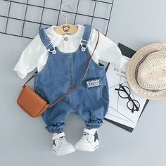 Baby Toddler Long Sleeve Tshirt And Denim Overalls Set Baby Outfits, Newborn Outfits, Trendy Outfits, Kids Outfits, Denim Suit, Girls Denim Jacket, Denim Overalls, Boys Jeans, Jeans Pants