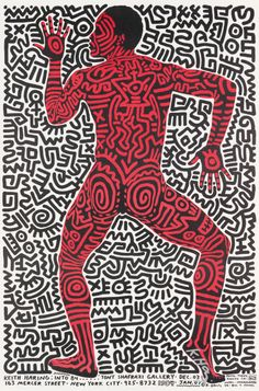 Keith Haring - Exhibition poster for the Tony Shafrazi Gallery in New York, 1984 - illustrations Keith Haring Poster, Keith Haring Prints, Keith Haring Art, Keith Allen, Graffiti, Tv Movie, Exhibition Poster, Illustrations, Illustration Art