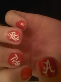 university of alabama nail designs | Alabama Football Nails | Unique Designs And Finds