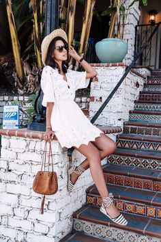VivaLuxury - THE JETSET DIARIES white lace dress | SOLUDOS Lace-Up espadrille sandals | CHLOE Inez small bag