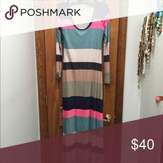 Never worn anthro lined Splendid striped maxi Long sleeve floor length maxi, lined.  Tags removed, tried on a few times, never actually worn outside the closet.  Smoke free/pet free. Anthropologie Dresses Maxi