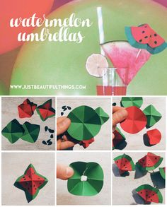 watermelon-umbrellas-DIY-easy-and-fast   Little watermelon umbrellas to serve chic cocktail when at a watermelon party! Just paper, glue and...a cocktail! Follow these step by step DIY!  Piccoli cocomero ombrellini per servire cocktail e aperitivi a una festa a tema cocomero! Tutorial facile e veloce solo con carta, colla e...fantasia!