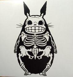 Skeleton Totoro vinyl sticker