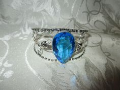blue quartz 925 silver overlay adjustable bangle bracelet brand new no tags handmade
