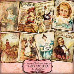 Digital ATC Cards TRADE CARDS  digital collage sheet paper printable sheet, printable victorian images,digital download