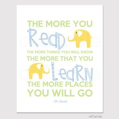 Dr Seuss Read Learn QUOTE Nursery Print Kids - Kids Wall Art - Children Wall Print - Pastel Blue Yellow Green Colors - ofCarola - 8x10 inch