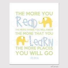 Dr Seuss Read Learn QUOTE Nursery Print Kids - Kids Wall Art - Children Wall Print - Pastel Blue Yellow Green Colors - ofCarola - 8x10 inch