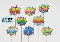 Vintage Super Hero Photo Booth Props. Shout Out Shout Outs on a Stick - Set of Eight
