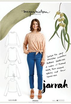 The Jarrah Sweater sewing pattern from Megan Nielsen is a loose fit drop shoulder sweater featuring a crew or funnel neckline, 2 sleeve options and 4 hem styles. Sewing Blogs, Sewing Tutorials, Sewing Patterns, Sewing Ideas, Knit Patterns, Clothing Patterns, Clothing Ideas, Dress Patterns, Sewing Projects