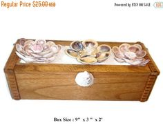 ON SALE Wooden Box decorated w/ Sea Shells and by DouceBoutique