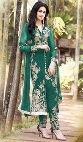 Aesthetic Deep Green Salwar Kameez  #chiffonsalwarkameez #babyboysalwarkameez Be The Dazzling Diva Clad With This Deep Green Faux Georgette Salwar Kameez With Exquisite Forms And Patterns. The Stunning Floral Patch|Resham Work A Vital Feature Of This Attire.