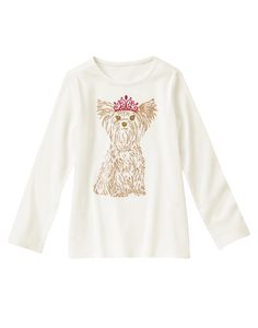 Fancy it up with a soft tee featuring a glittery dog wearing a shimmery tiara.