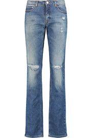 Victoria Beckham DenimDistressed mid-rise straight-leg jeans