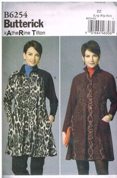 Butterick B6254, Sewing Pattern, Misses' Coat Dresses by Katherine Tilton, Size Lrg, Xlg, XXl by OhSewWorthIt on Etsy