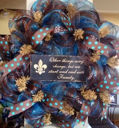 Chocolate Brown and Blue Wreath