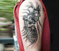 Tattoo photo - Tyrael tattoo by Cana Arik Tattoos Atrapasueños Tattoo, Angle Tattoo, Zeus Tattoo, Grey Tattoo, Upper Arm Tattoos, Cool Forearm Tattoos, Badass Tattoos, Arm Tattoos For Guys, Tribal Tattoos