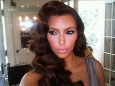 medium hairstyles for brides old hollywood | Retro Fashion is Back! Get Kim K's Old Hollywood Look!