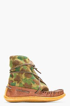 YUKETEN BROWN CAMO PRINT WOOL MOCCASIN BOOTS - http://africanluxurymag.com/shop-item/yuketen-brown-camo-print-wool-moccasin-boots/