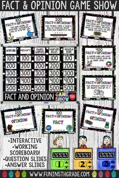 Use this interactive fact and opinion game show to review in a fun way! Great extra practice activity before a test! Super engaging! Perfect for any grade 3 and up who need to review fact and opinion!
