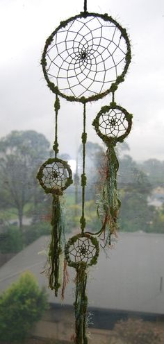 Green dreamcatcher - 4 ring by Dreamt27 on Etsy.